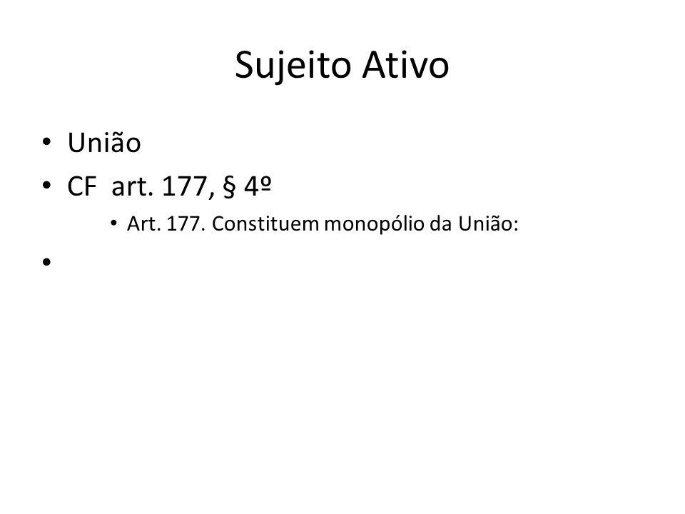 Sujeito Ativo União CF art. 177, § 4º