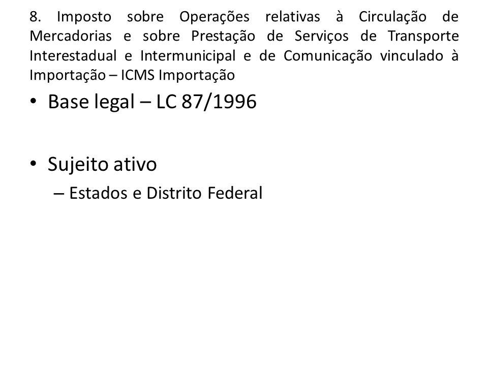 Base legal – LC 87/1996 Sujeito ativo Estados e Distrito Federal