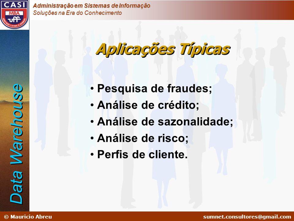Data Warehouse Aplicações Típicas Pesquisa de fraudes;