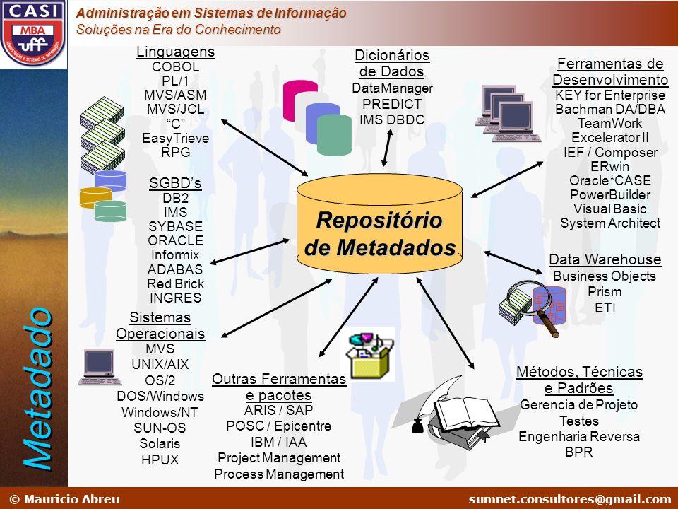 Metadado Repositório de Metadados Linguagens SGBD's Dicionários