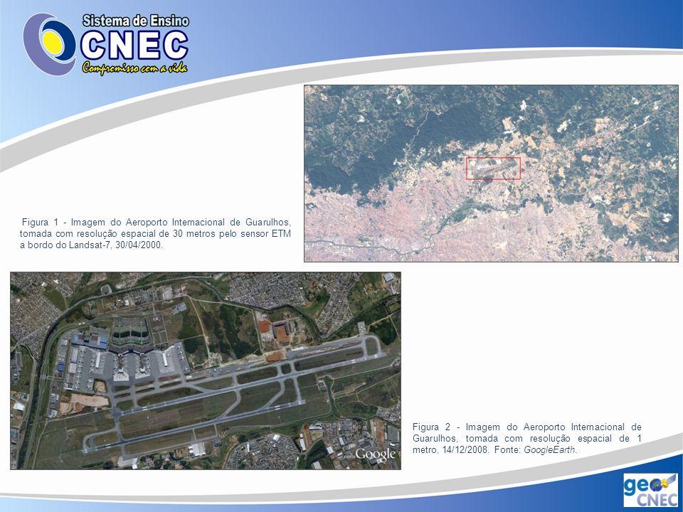 Figura 1 - Imagem do Aeroporto Internacional de Guarulhos, tomada com resolução espacial de 30 metros pelo sensor ETM a bordo do Landsat-7, 30/04/2000.