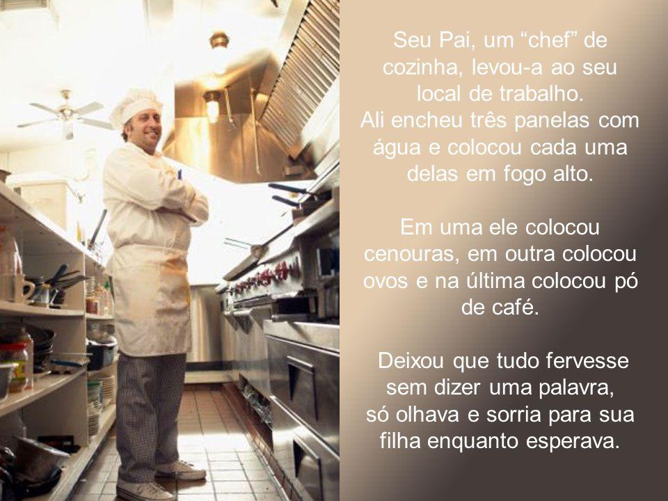 Seu Pai, um chef de cozinha, levou-a ao seu local de trabalho.