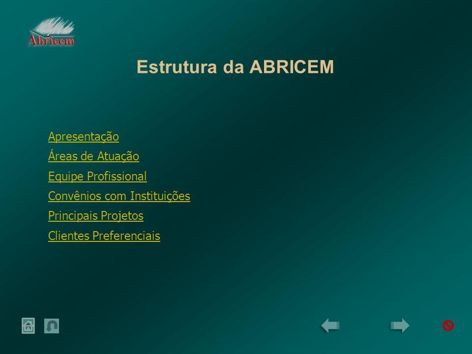 Estrutura da ABRICEM Apresentação Áreas de Atuação Equipe Profissional Convênios com Instituições Principais Projetos Clientes Preferenciais