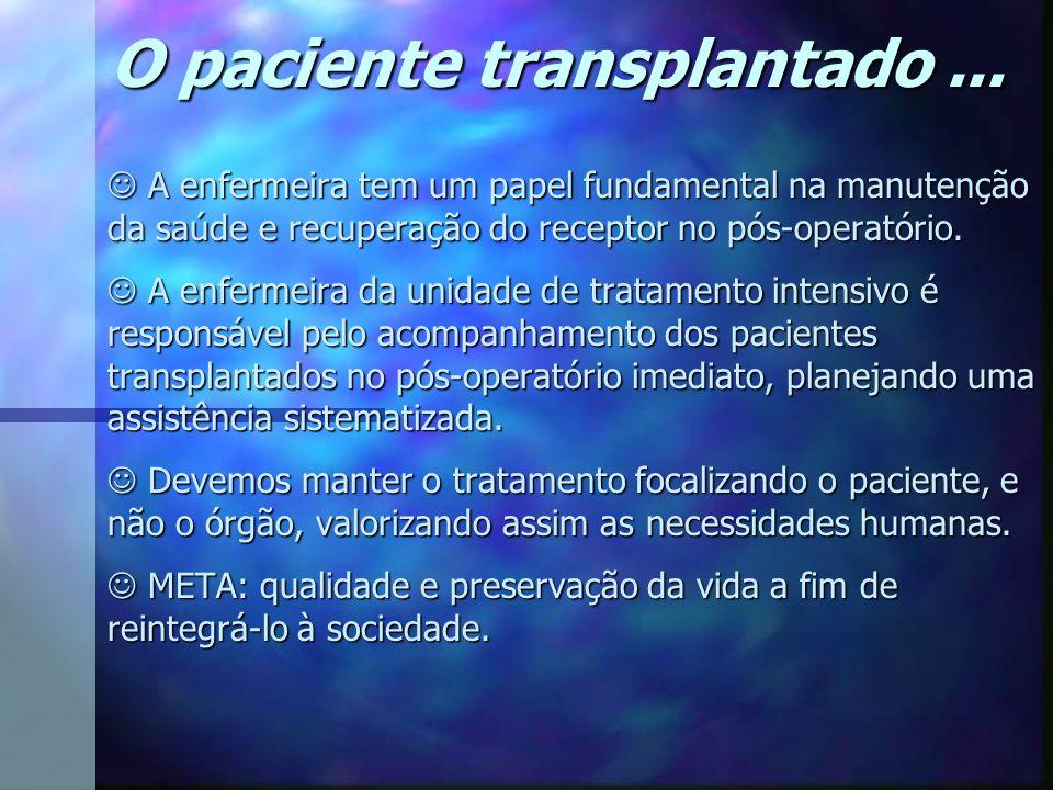 O paciente transplantado ...