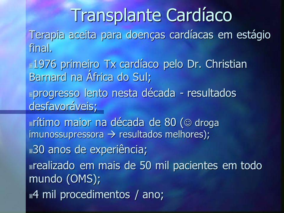 Transplante Cardíaco Terapia aceita para doenças cardíacas em estágio final. 1976 primeiro Tx cardíaco pelo Dr. Christian Barnard na África do Sul;