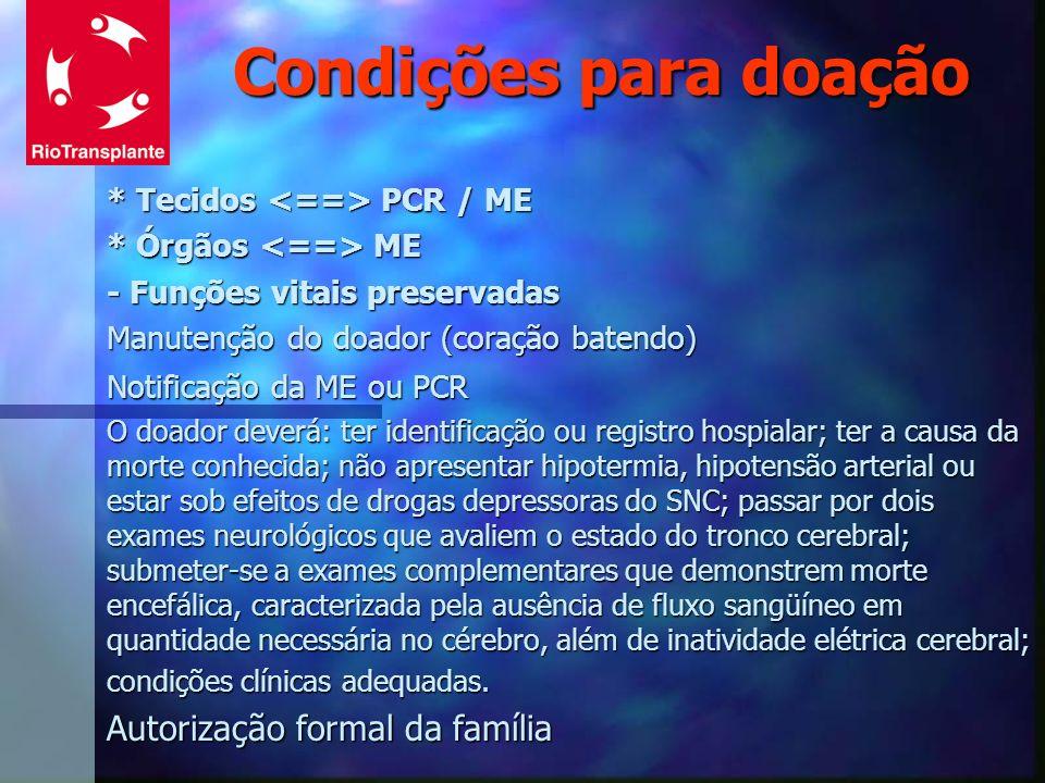 Condições para doação Autorização formal da família