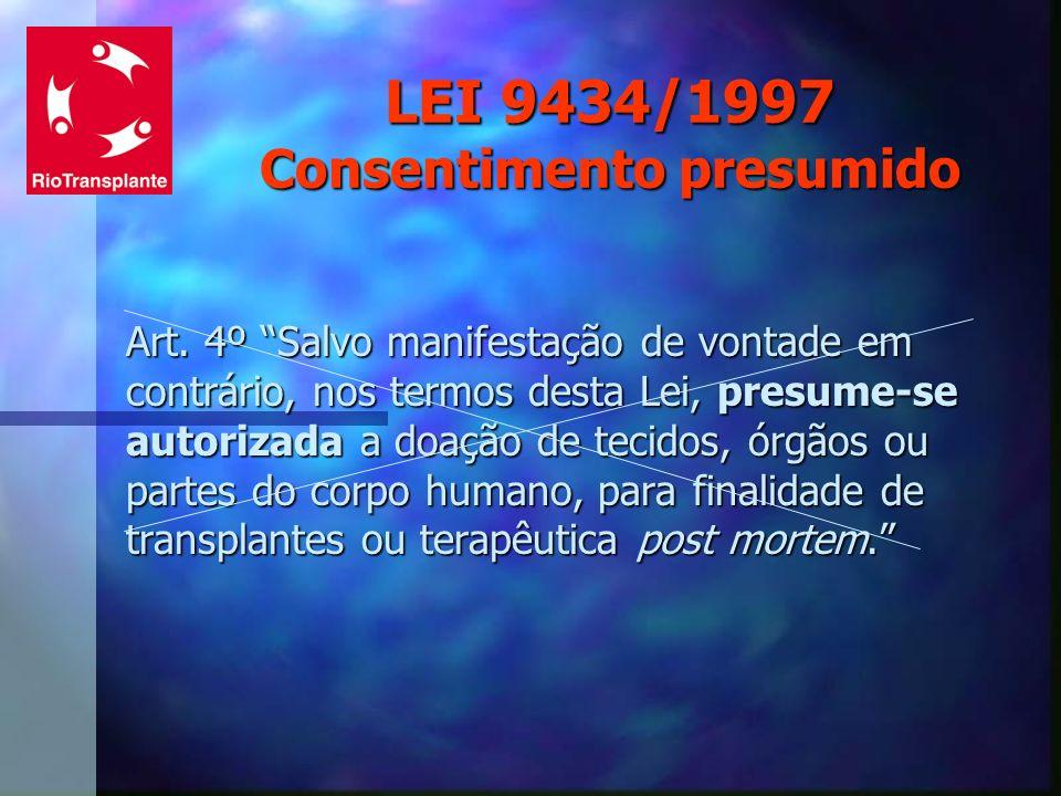 LEI 9434/1997 Consentimento presumido