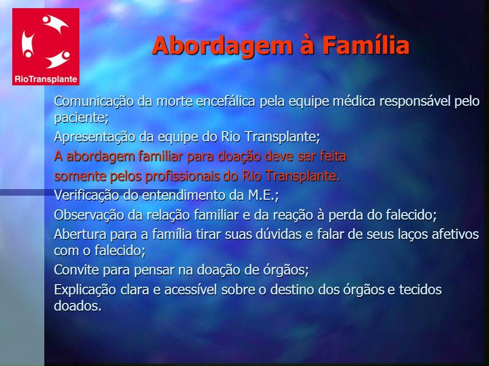 Abordagem à Família Comunicação da morte encefálica pela equipe médica responsável pelo paciente; Apresentação da equipe do Rio Transplante;