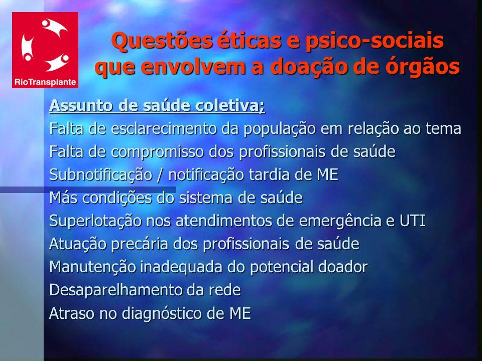 Questões éticas e psico-sociais que envolvem a doação de órgãos