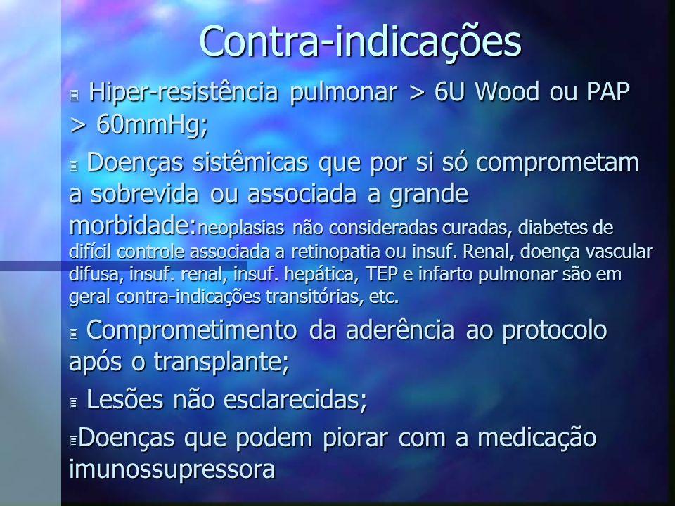 Contra-indicações Hiper-resistência pulmonar > 6U Wood ou PAP > 60mmHg;