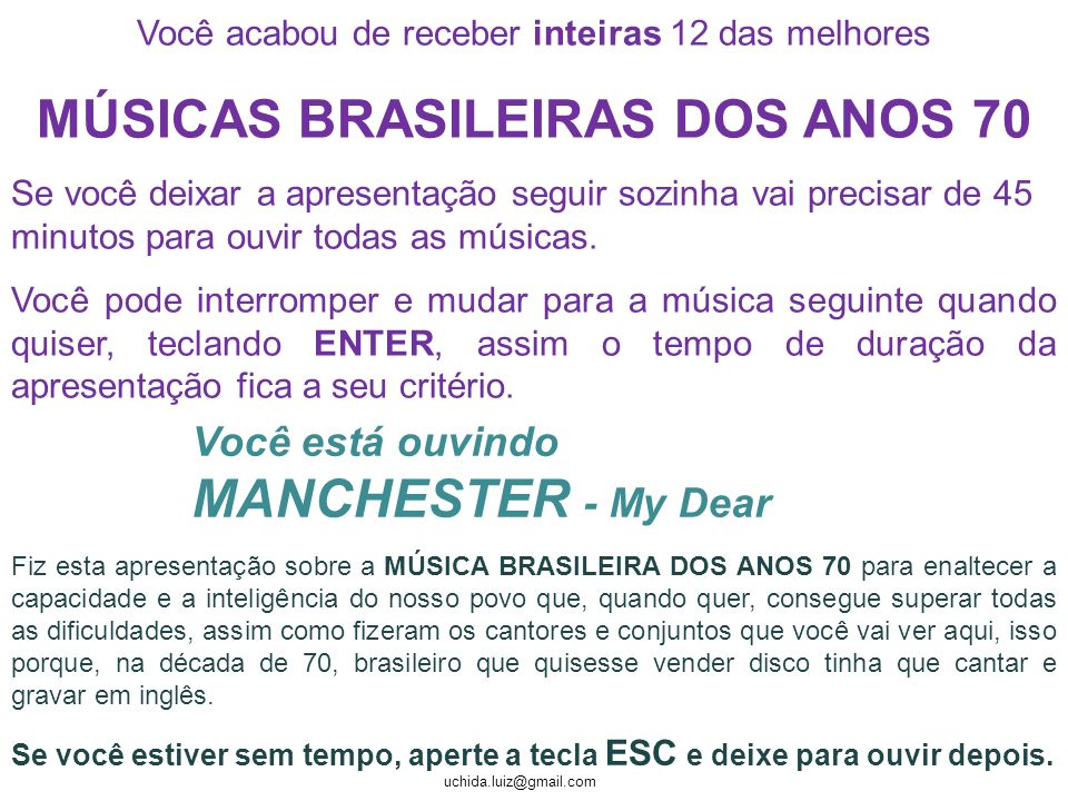 MÚSICAS BRASILEIRAS DOS ANOS 70