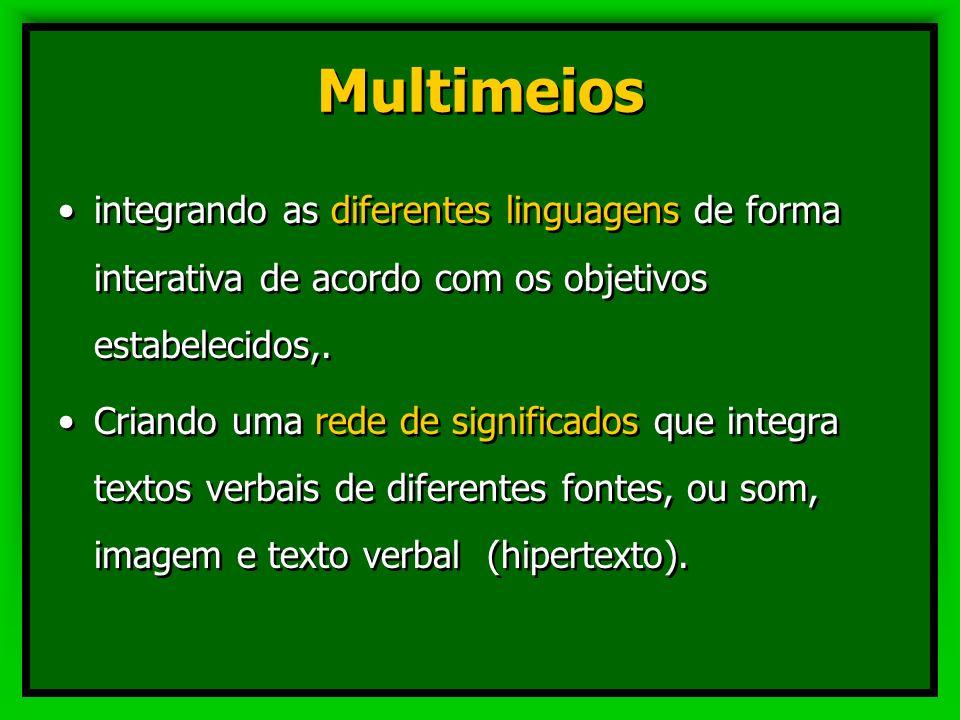 Multimeios integrando as diferentes linguagens de forma interativa de acordo com os objetivos estabelecidos,.
