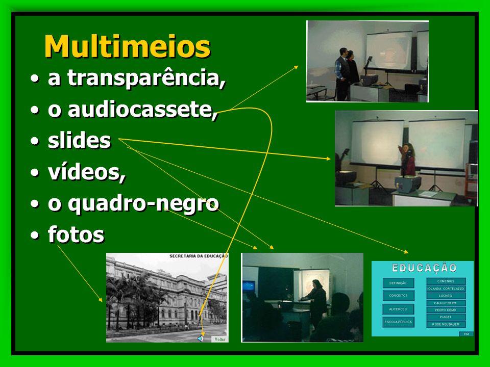 Multimeios a transparência, o audiocassete, slides vídeos,