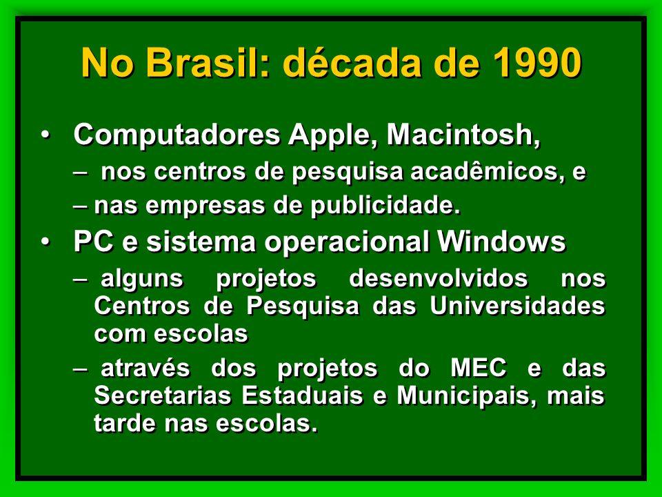No Brasil: década de 1990 Computadores Apple, Macintosh,