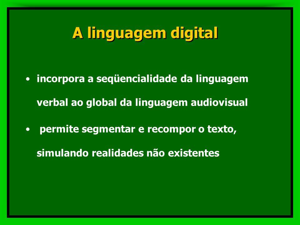 A linguagem digital incorpora a seqüencialidade da linguagem verbal ao global da linguagem audiovisual.