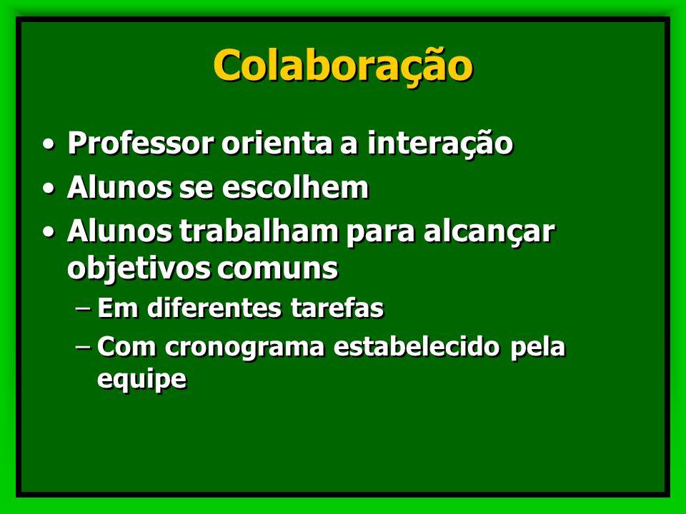 Colaboração Professor orienta a interação Alunos se escolhem