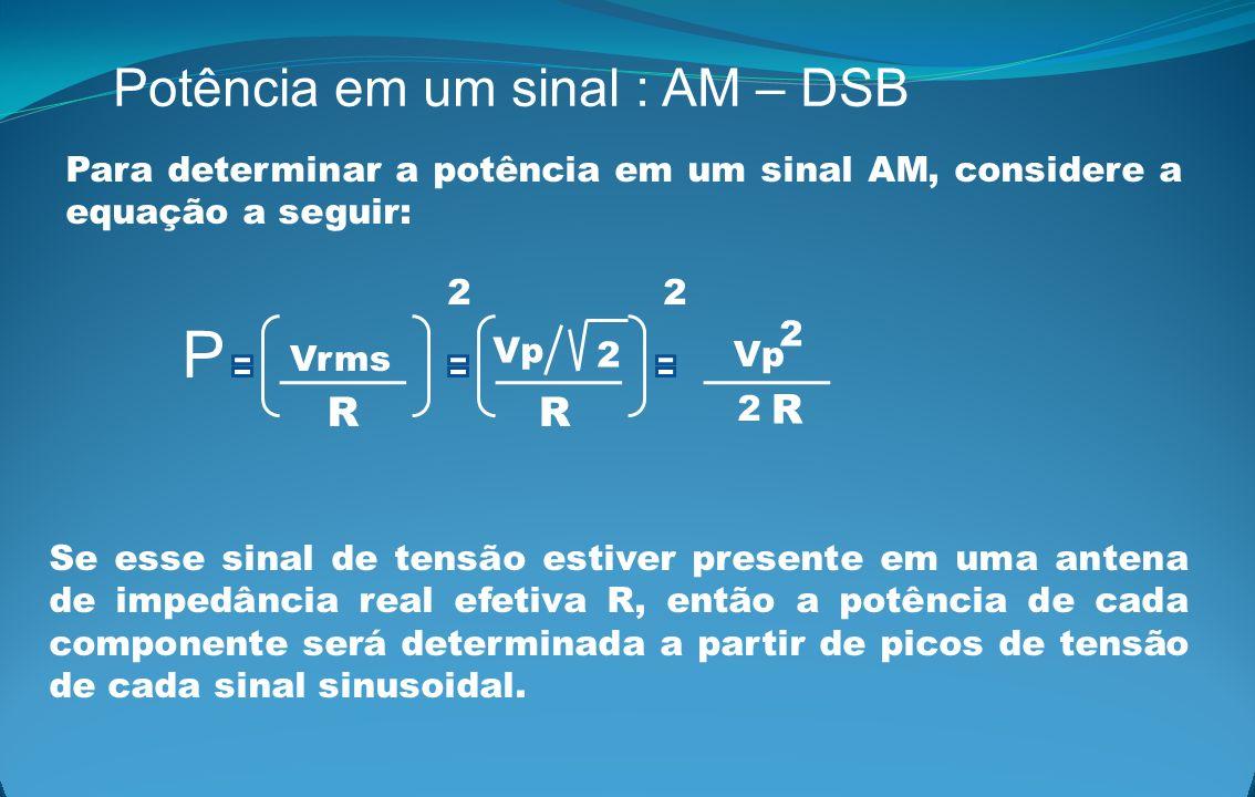 P Potência em um sinal : AM – DSB R R R