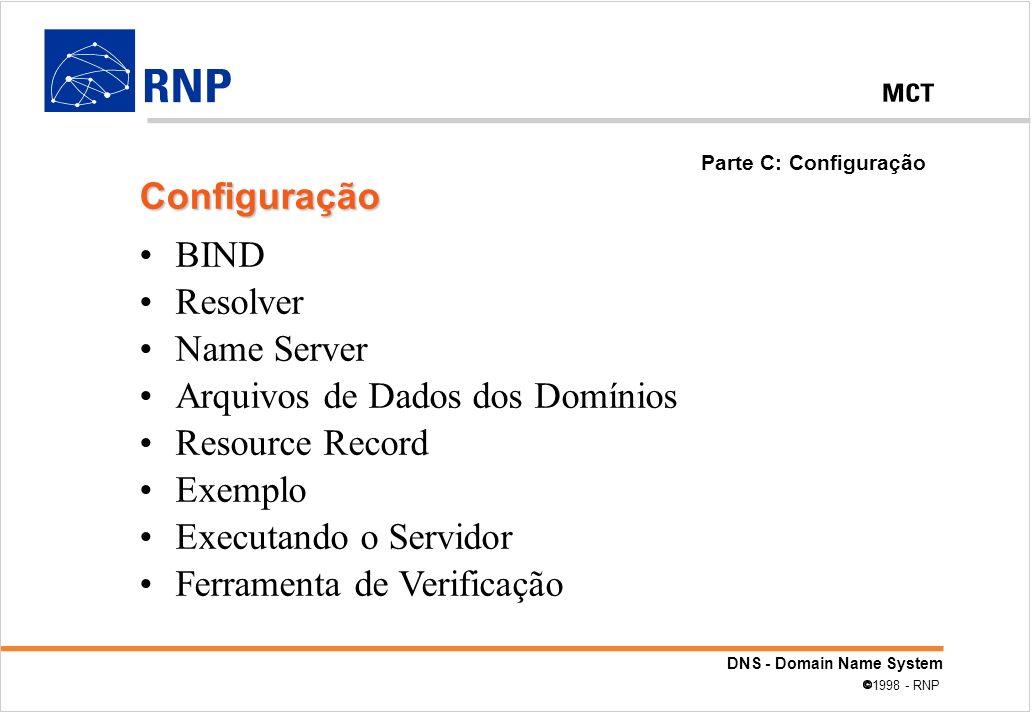 Arquivos de Dados dos Domínios Resource Record Exemplo