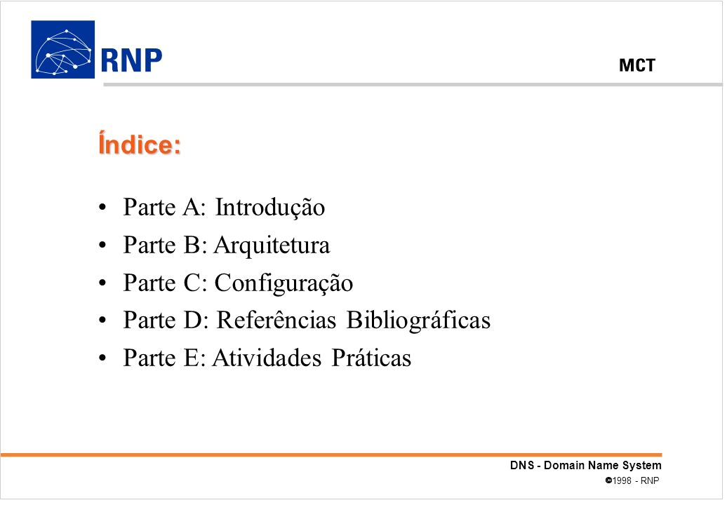 Índice: Parte A: Introdução. Parte B: Arquitetura. Parte C: Configuração. Parte D: Referências Bibliográficas.