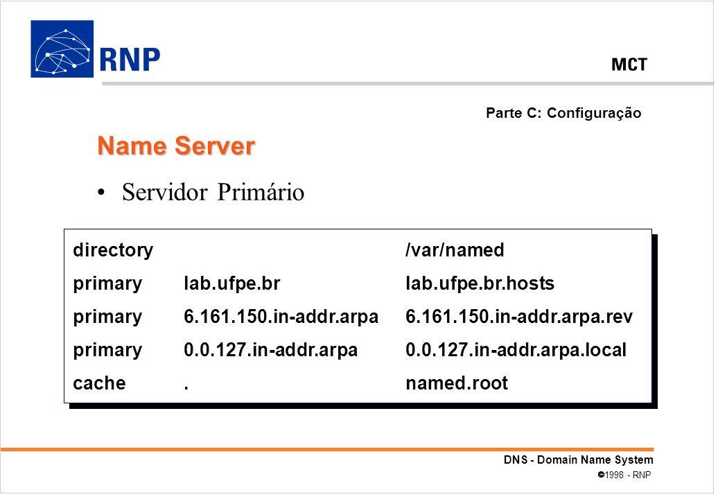 Name Server Servidor Primário directory /var/named