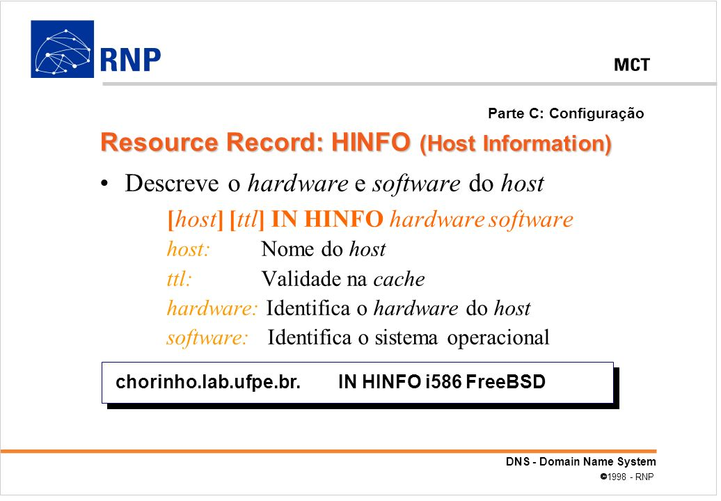 Resource Record: HINFO (Host Information)