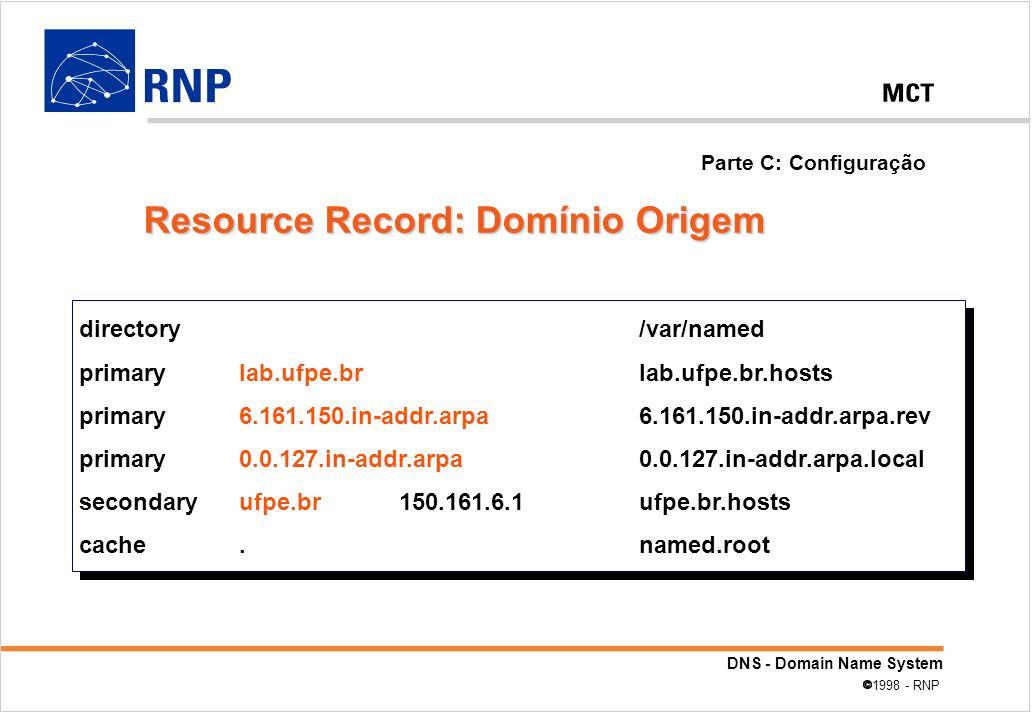 Resource Record: Domínio Origem