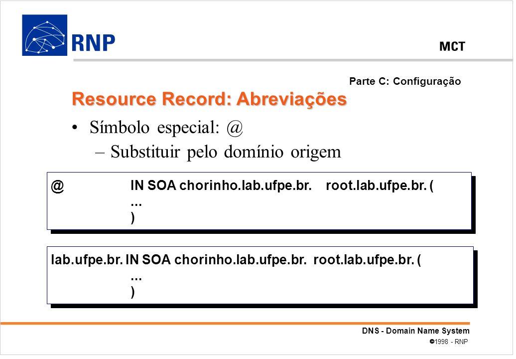 Resource Record: Abreviações
