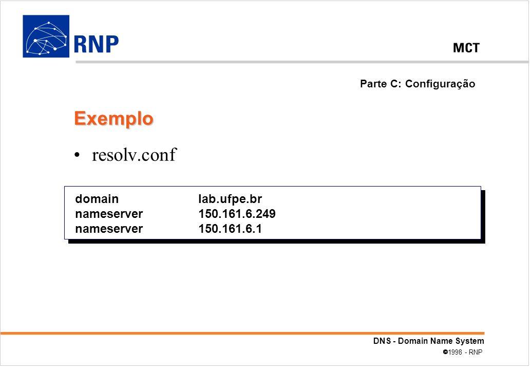 Exemplo resolv.conf domain lab.ufpe.br nameserver 150.161.6.249