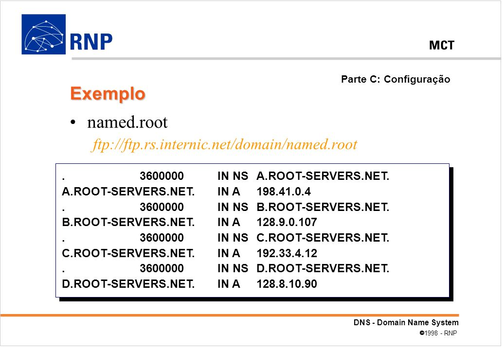 Exemplo named.root ftp://ftp.rs.internic.net/domain/named.root