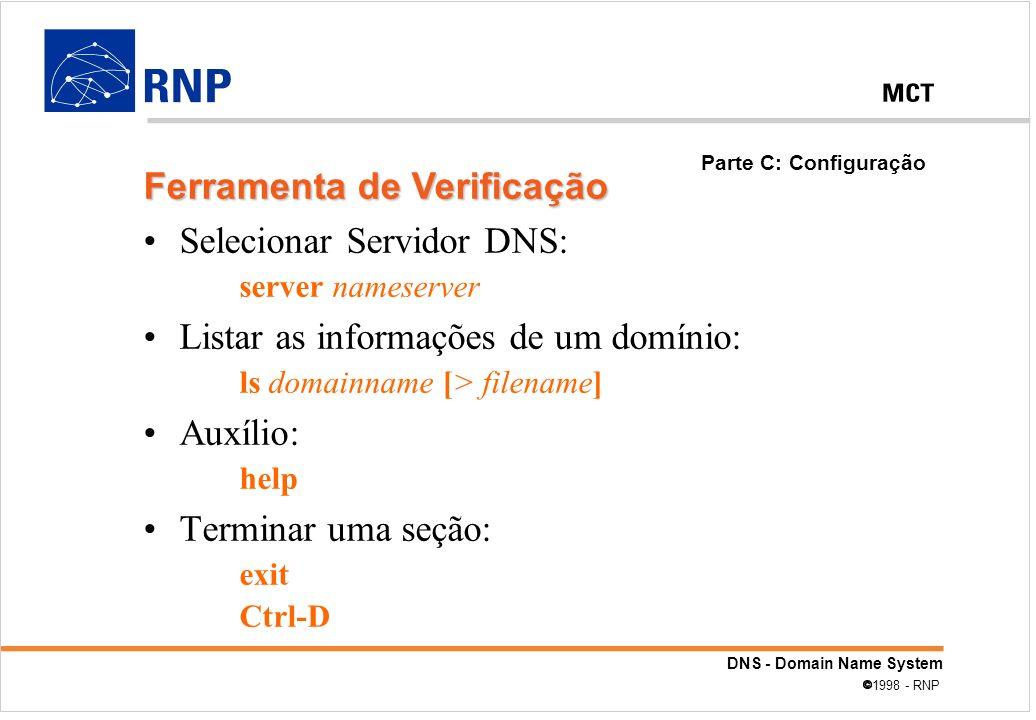 Ferramenta de Verificação Selecionar Servidor DNS: