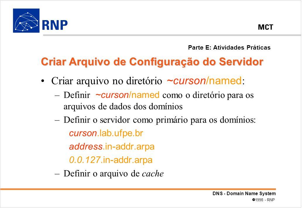 Criar Arquivo de Configuração do Servidor