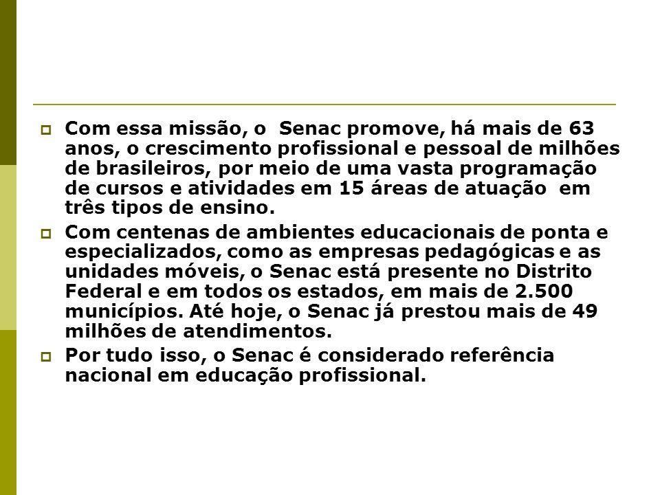 Com essa missão, o Senac promove, há mais de 63 anos, o crescimento profissional e pessoal de milhões de brasileiros, por meio de uma vasta programação de cursos e atividades em 15 áreas de atuação em três tipos de ensino.