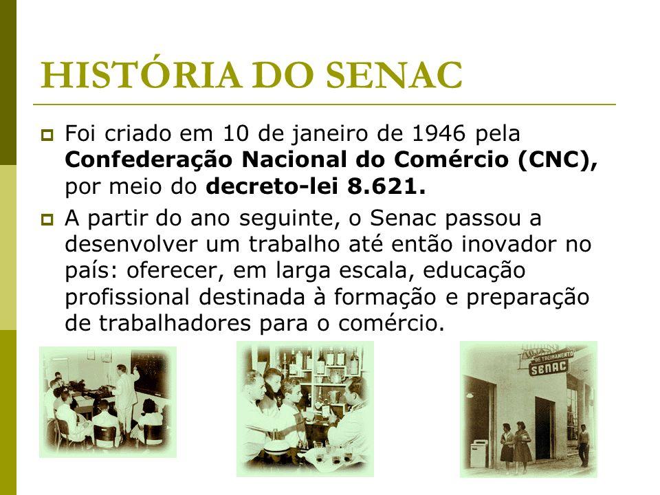 HISTÓRIA DO SENAC Foi criado em 10 de janeiro de 1946 pela Confederação Nacional do Comércio (CNC), por meio do decreto-lei 8.621.