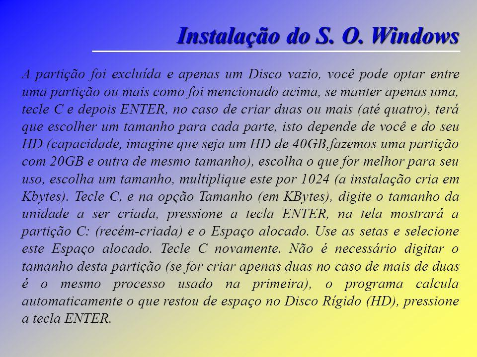 Instalação do S. O. Windows