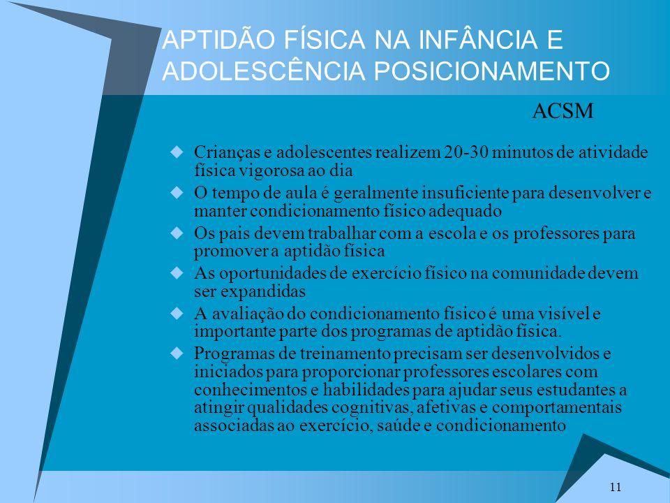APTIDÃO FÍSICA NA INFÂNCIA E ADOLESCÊNCIA POSICIONAMENTO