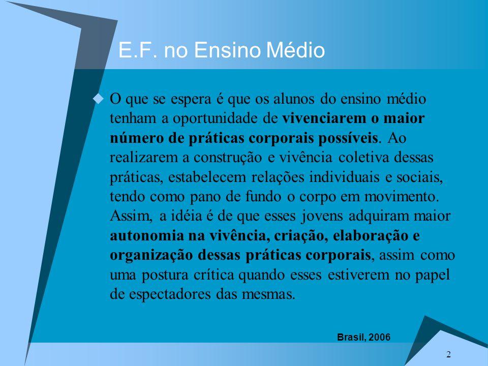 E.F. no Ensino Médio