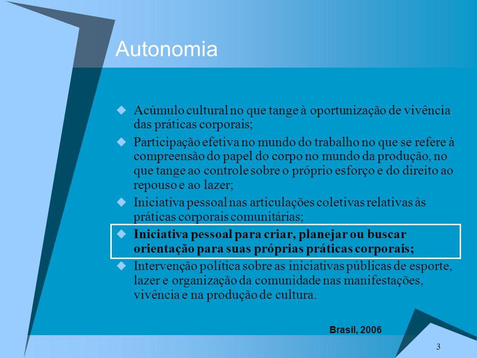 Autonomia Acúmulo cultural no que tange à oportunização de vivência das práticas corporais;