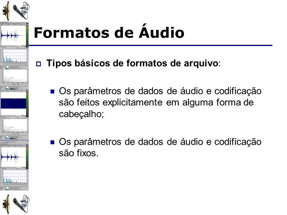 Formatos de Áudio Tipos básicos de formatos de arquivo: