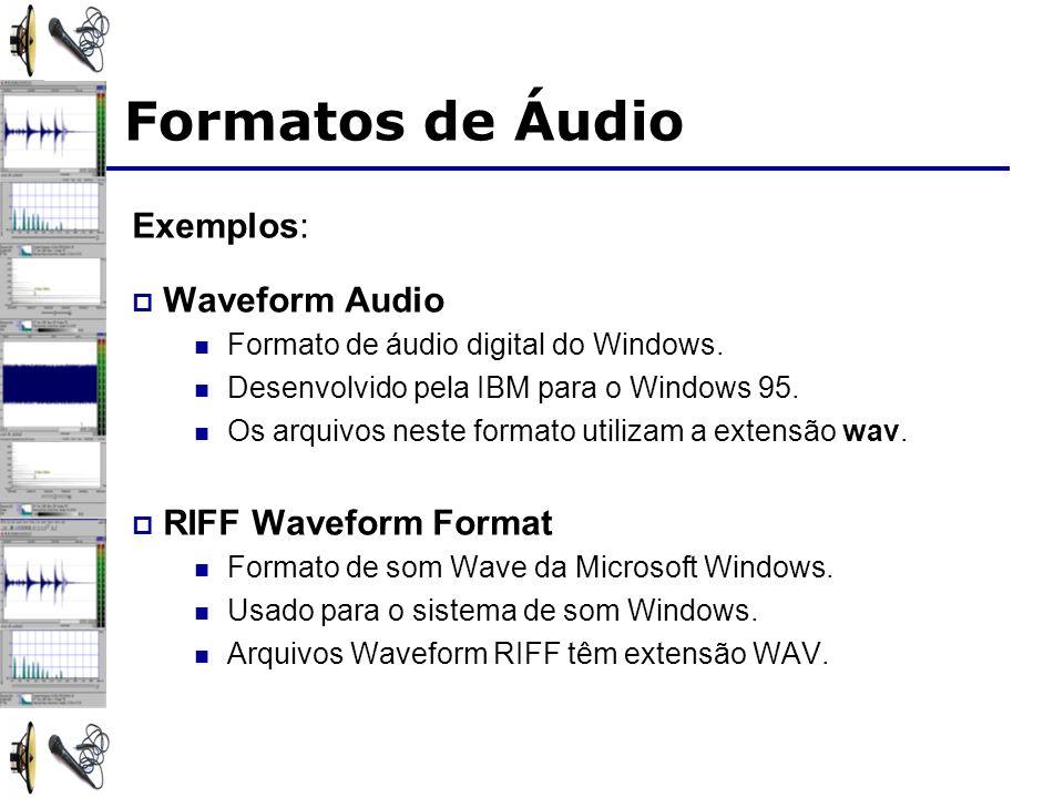 Formatos de Áudio Exemplos: Waveform Audio RIFF Waveform Format