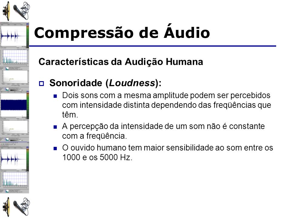 Compressão de Áudio Características da Audição Humana