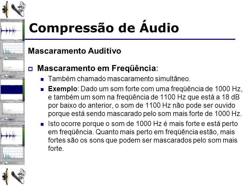 Compressão de Áudio Mascaramento Auditivo Mascaramento em Freqüência: