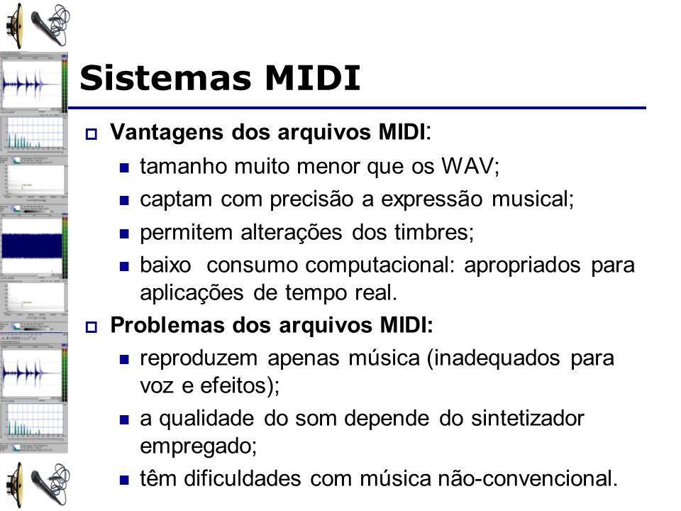 Sistemas MIDI Vantagens dos arquivos MIDI: