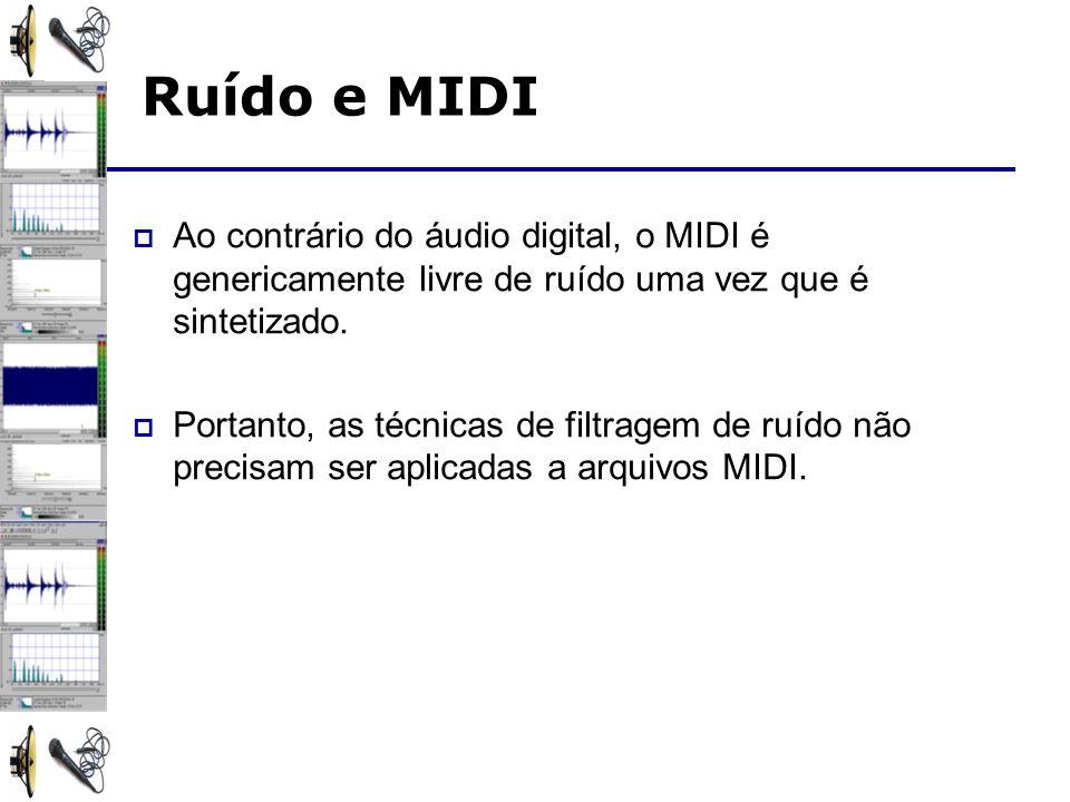 Ruído e MIDI Ao contrário do áudio digital, o MIDI é genericamente livre de ruído uma vez que é sintetizado.