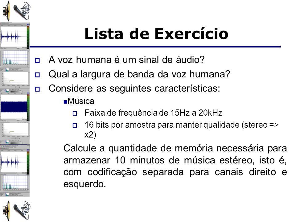 Lista de Exercício A voz humana é um sinal de áudio