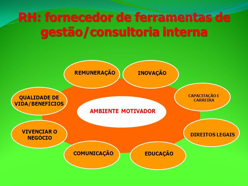 RH: fornecedor de ferramentas de gestão/consultoria interna