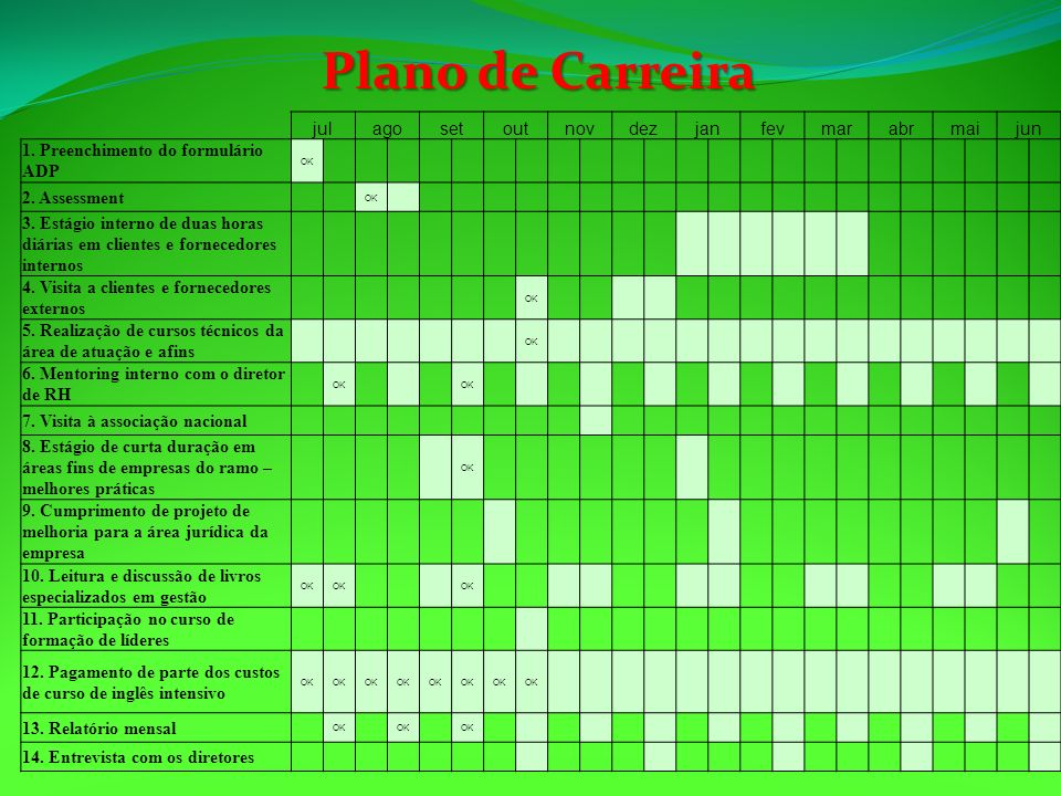 Plano de Carreira jul ago set out nov dez jan fev mar abr mai jun