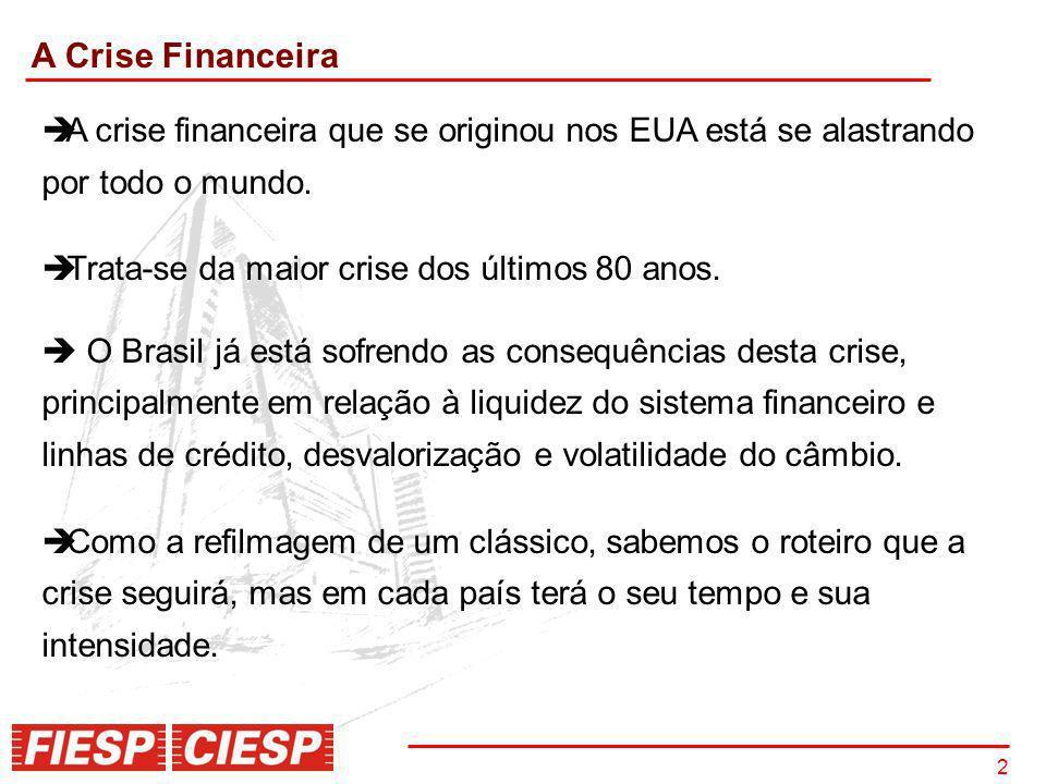 A Crise Financeira A crise financeira que se originou nos EUA está se alastrando por todo o mundo.