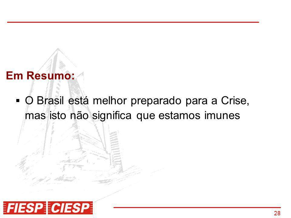 Em Resumo: O Brasil está melhor preparado para a Crise, mas isto não significa que estamos imunes