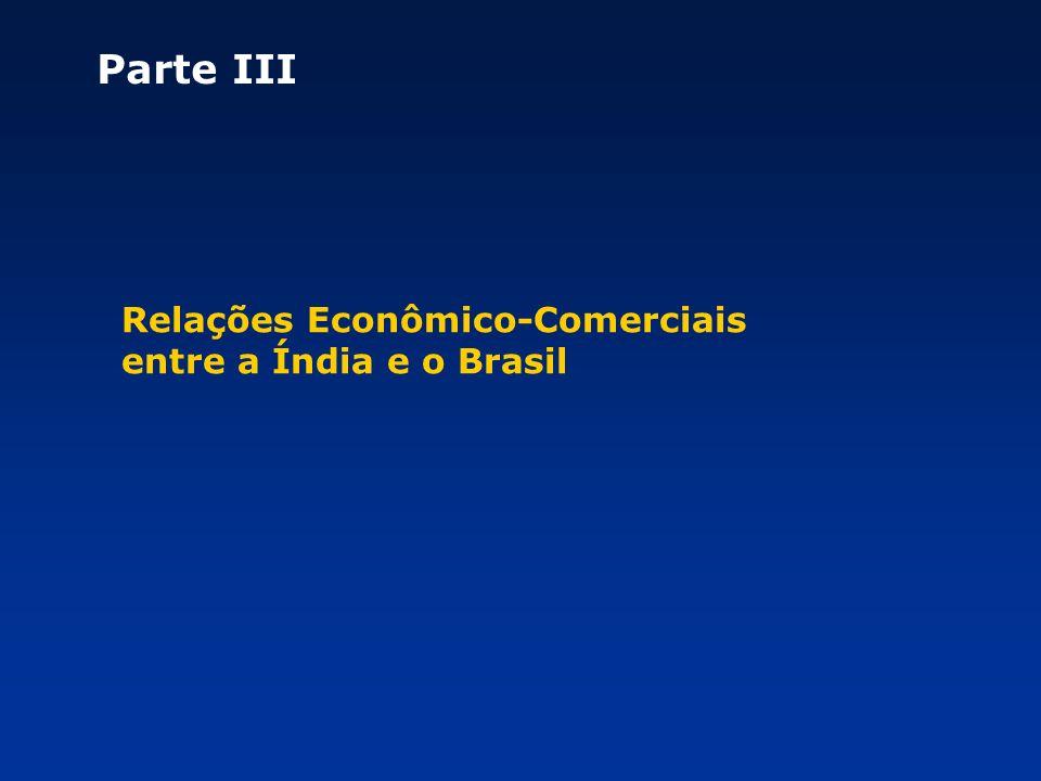Parte III Relações Econômico-Comerciais entre a Índia e o Brasil