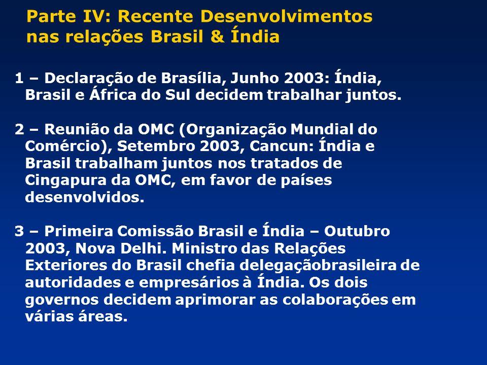 Parte IV: Recente Desenvolvimentos nas relações Brasil & Índia